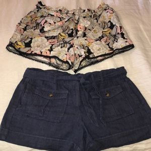 Two (2) pairs Ann Taylor LOFT paperbag shorts.